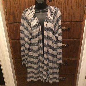 Long sleeve, hooded cardigan